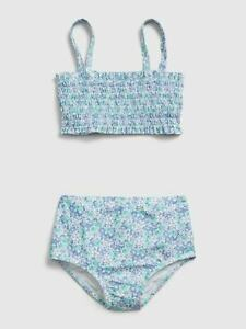 Gap Kids Girl's Blue Floral Smocked Recycled Two Piece Swim Suit NWT Various Szs