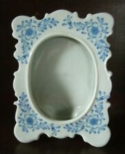 Vtg Andrea by Sadek Porcelain Picture Frame Blue & White Floral #9303 + GLASS