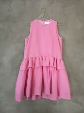 **Victoria Beckham** Pink Peplum Ruffle Silk-Blend Mini Dress UK 12 DE 38