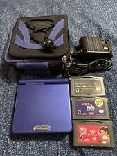 Nintendo Game Boy Advance GBA SP 001 Blue Cobalt 3 Games Case Charger Gameboy