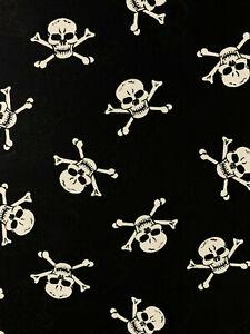 4 Metres Black Skull & Crossbones Pirate Printed 100% Cotton Poplin Fabric