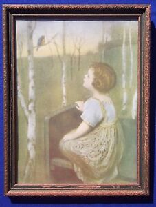 """Vintage 1920s Lithograph """"Spring Song"""" by Simon Glucklich Blind Girl Framed"""