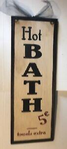 """HOT BATH 5C towels extra wooden bathroom primitive baths wall decor sign 14x5"""""""