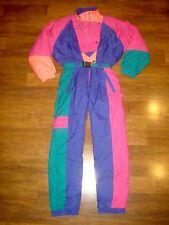 Vtg 80s ETIREL Womens MEDIUM 14 Neon One piece Snow SKI SUIT Bib coat Snowsuit