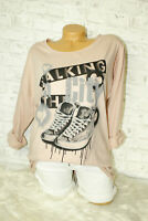 Italy Shirt Longsleeve Gr. 36 38 40 42 Hemd Print Sweat Shoes blogger rosa
