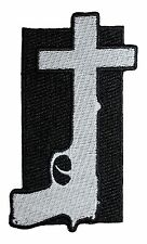 """Nine Inch Nails Gun CrossIron On Patch 4"""" x 2.25"""" Free Ship Licensed P-2975"""