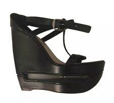 8499fd328 Celine Black Leather Ultra Platform Cut Out Wedge Sandal Shoes Collectors  6.5 39