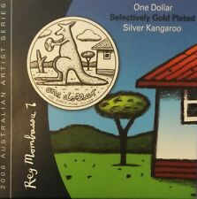 "2008 $1 Selectively Gold Plated 1oz Fine Silver ""Reg Mombassa"" Kangaroo Coin"