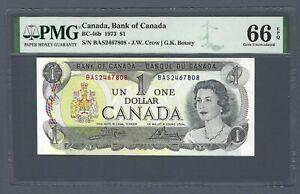 CANADA 1 Dollar 1973, BC-46b Crow / Bouey, PMG 66 EPQ Gem UNC, QEII Portrait
