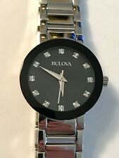 Bulova Black Mother of Pearl Diamond Dial Ladies Watch 96P172