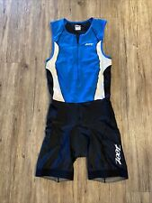 ZOOT Mens Size L Tri Suit Sleeveless Blue Black Triathlon Cycling Run