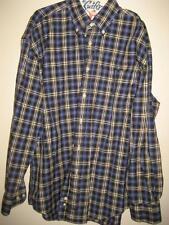Nautica Blue Plaid Button Down Collar LS Shirt XL EUC