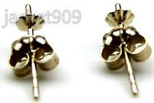 14K Solid Yellow Gold Earring Post Stud + Plain Backs Findings 2 pieces / 1 pair