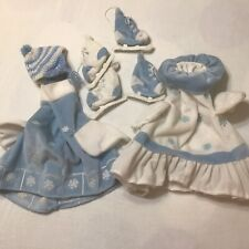 New listing 2 Lawn Goose Outfits Winter Ice Skaters His & Hers Blue N White 1 Hat Rust Stain