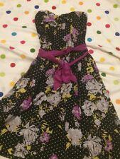 NWOT Anthropologie Porridge Black Floral Polka Dot Strapless Dress Size 14 or L
