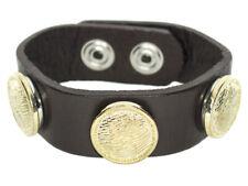 Chunk Leder Armband dunkel braun 3 Chunks Druckknöpfe Click Button Kette Ring