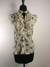 Live 4 Truth Ivory/ Floral Front Ruffled Shear Women's Medium Blouse Shirt