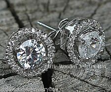 4CT. Diamond Simulant Round HALO Jacket Stud Earrings 925 Sterling Silver 14k WG