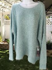 Jennifer Lopez Women's XL Blue & Silver Gilded Glamour LS Pullover Sweater NWT