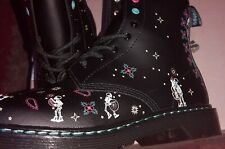DR MARTENS DAY OF THE DEAD DIA DEL MUERTOS SKULL LEATHER BOOTS SIZE UK 4 EU 37