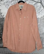 NWT $49.5 TIMBERLAND Plaid Button Down Shirt Orange Beige Brown Long Sleeve L