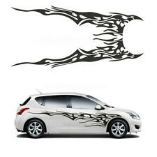 2 Pcs Car Body Side Racing Black Flame Logo Vinyl Decal Graphics Strips Stickers