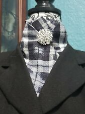 Stock Tie Black & White Plaid Contour (Pin is not included)
