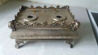 ANTIQUE SILVER PLATED INKWELL  - DESK STAND- YOUNG WOMAN- WILLIAM HARRISON 1890S
