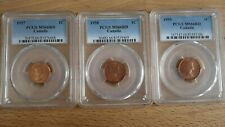 Lot of 1 cent 1957 + 1958 + 1959 Canada All PCGS MS-66 Red small penny ¢ c