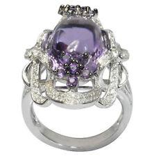 De Buman 18K White Gold 12.08ctw Genuine Amethyst & Diamond Ring, Size 7