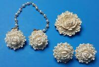 Vintage Flower 3 pc Set Brooch Earrings & Sweater Clip Hard Plastic Resin