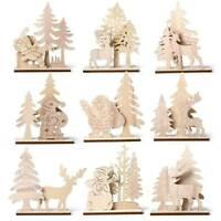 DIY Christmas Wooden Pendant Elk Santa Claus Xmas Ornament Table Home Decoration