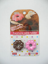 2 Piece Silicon BUNDT CAKE Earphone Cable Holder Pink & Brown BN