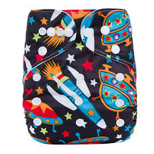 New Reusable Modern Cloth Nappy MCN + FREE insert Colorful Rockets & Spaceships