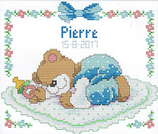 Sleeping Baby Bear (Blue) 11CT pre-printed cross stitch kit 32x26cm fabric. 0589