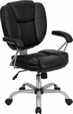 SALE Poker Chairs: very comfortable, adjustable, black leather with casters