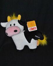 Peluche doudou vache Paquita FIZZY blanc noir rose jaune 21 cm 100% NEUF
