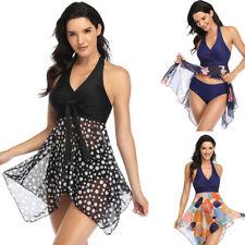 2Pcs Womens Plus Size Swimdress Halter Tankini Swimsuit Swimwear Bathing Suit