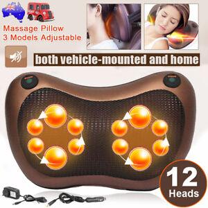 AU Electric Lumbar Neck Back Massage Pillow Cushion Massager with Heat Car &Home