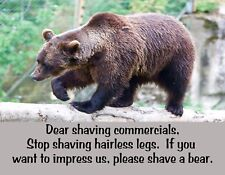 METAL FRIDGE MAGNET Shaving Commercials Shave A Bear Friend Family Humor Funny