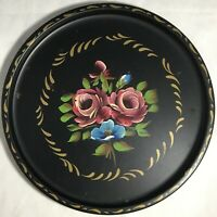 Vintage Floral Toleware Tray Nashco Products New York Hand Painted Black Gold