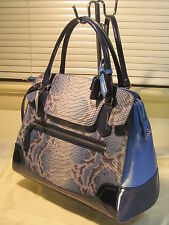 NWT Coach 25077 Poppy Embossed Blue Python Large Flap Satchel Bag MSRP $598