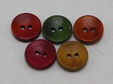 100 Mixed Color Round 2 Holes Wood Sewing Buttons Flatback Scrapbook 15mm