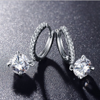 2ct Created Diamond Hoop Earrings Solitaire 14k White Gold Brilliant Round Cut