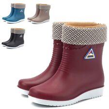Women Wellies Wellington Ladies Snow Boots Low Heel Fur Winter Rain Shoes Size