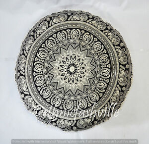 "Indian Mandala Floor Pillows 32"" Round Meditation Cushion Cover Ottoman Pouf Art"
