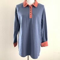 Duluth Trading Co Womens Blue Orange Trim Long Sleeve Henley Blouse Size XL