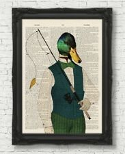 FISHING DUCK VINTAGE DICTIONARY PAGE ART PRINT FATHERS DAY GIFT ANIMAL WALL ART