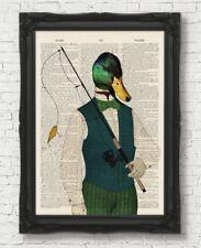 Pato de pesca página Diccionario Vintage Regalo Padres Día de Impresión de Arte Pared Arte Animal