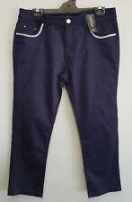 BNWT Womens Sz 16 Navy Bling Capri Denim Cotton Crop Pants RRP $79.95